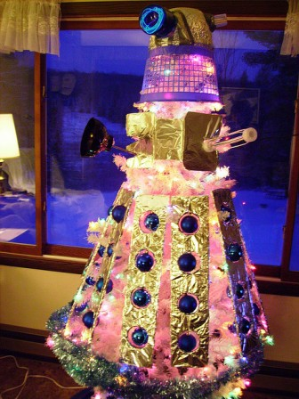 christmas tree decorated to look like a Dalek