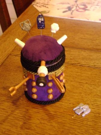 Handmade Dalek shaped sewing caddy