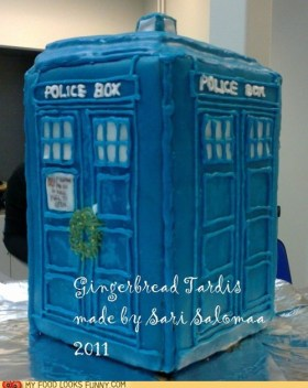 blue iced gingerbread tardis baked by Sari Salomaa
